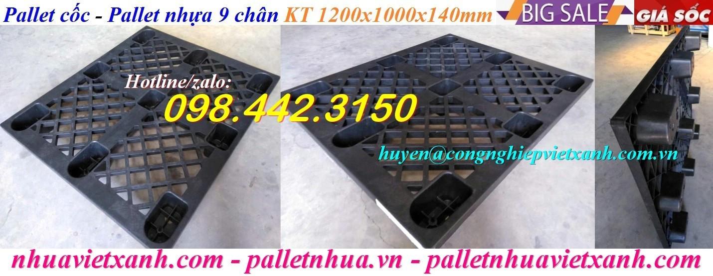 Pallet cốc 9 chân 1200x1000x140mm màu đen