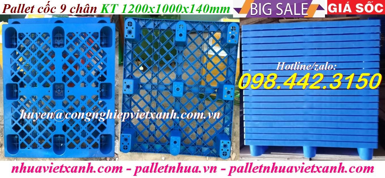 Pallet cốc 9 chân 1200x1000x140mm xanh dương