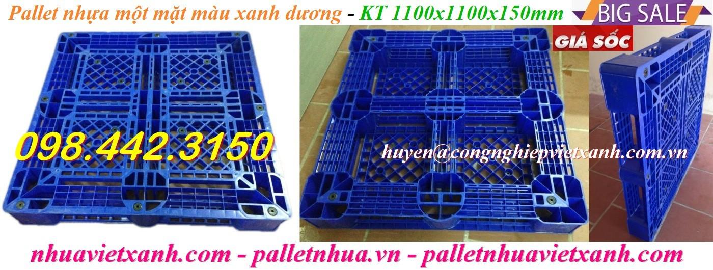 Pallet nhựa 1100x1100x150mm PL09LK màu xanh