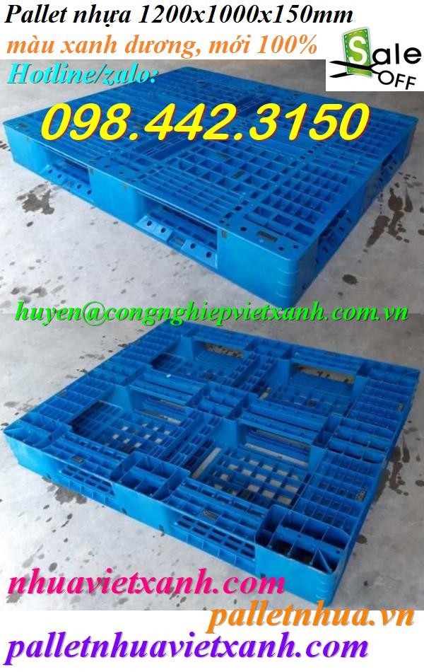 Pallet nhựa 1200x1000x150mm xanh giá rẻ