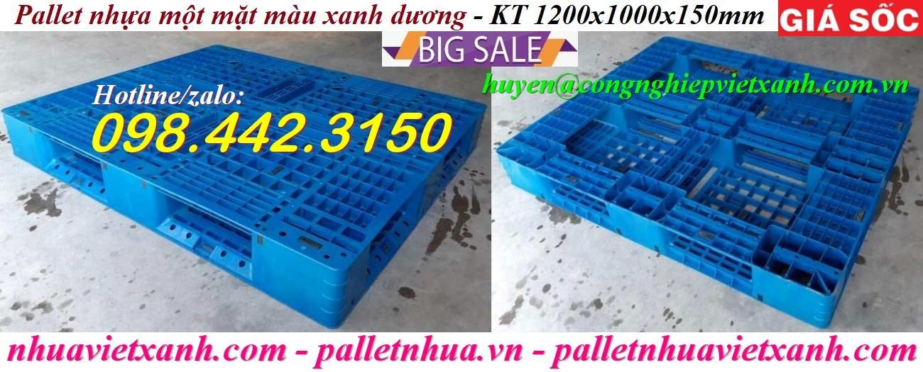 Pallet nhựa 1200x1000x150mm xanh nhạt giá rẻ