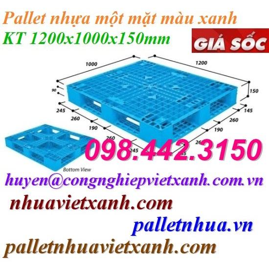 Pallet nhựa 1200x1000x150mm xanh nhạt
