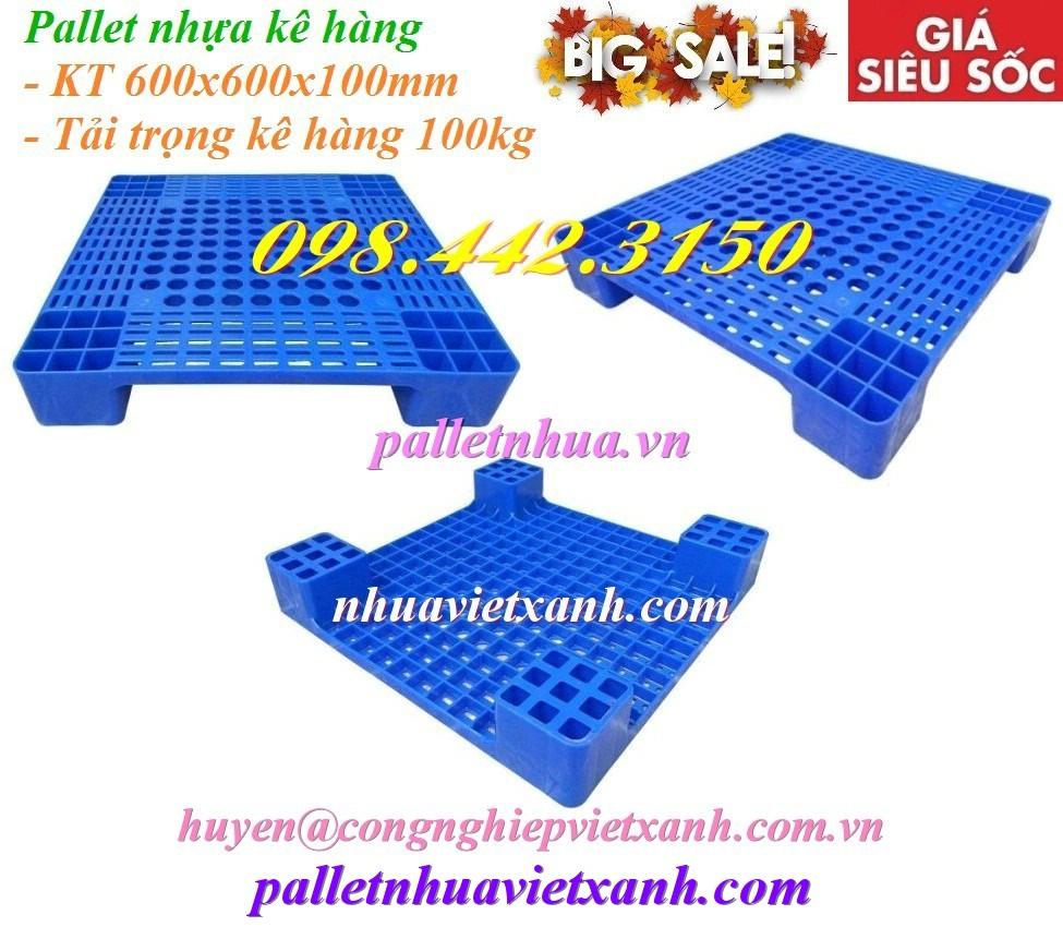 Pallet nhựa kê hàng 600x600x100mm