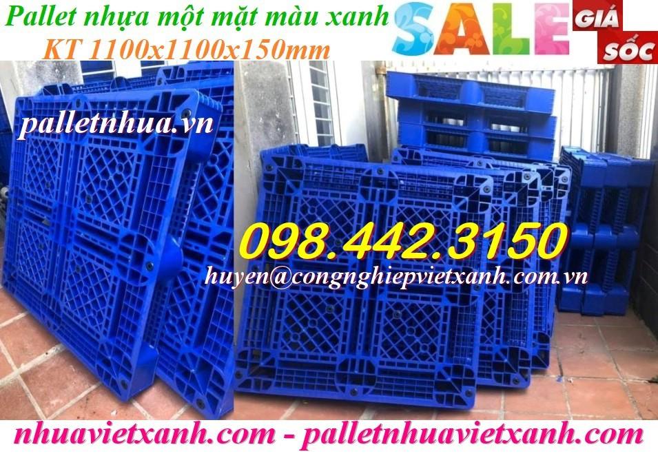 Pallet nhựa xanh 1100x1100x150mm PL09LK