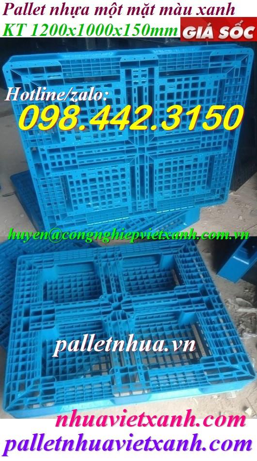 Pallet nhựa xanh 1200x1000x150mm