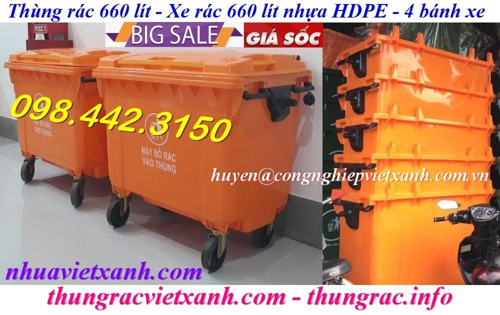 Thùng rác nhựa 660 lít màu cam