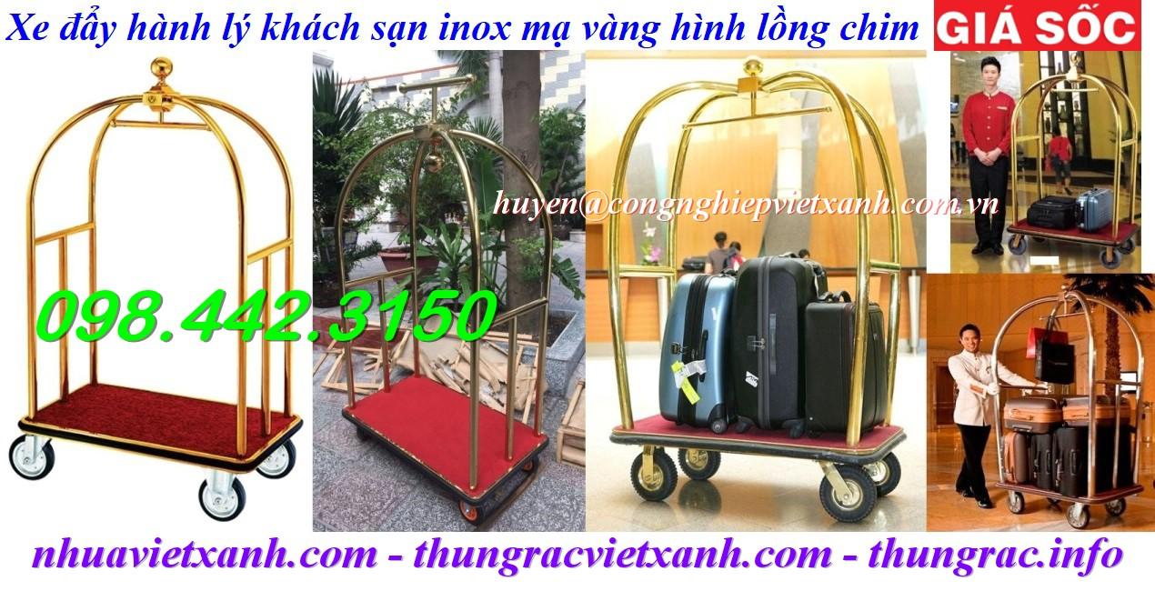 Xe đẩy hành lý khách sạn lồng chim