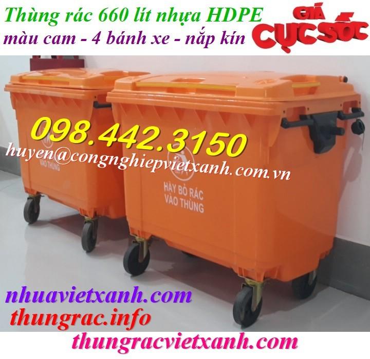 Xe rác 660 lít nhựa HDPE màu cam