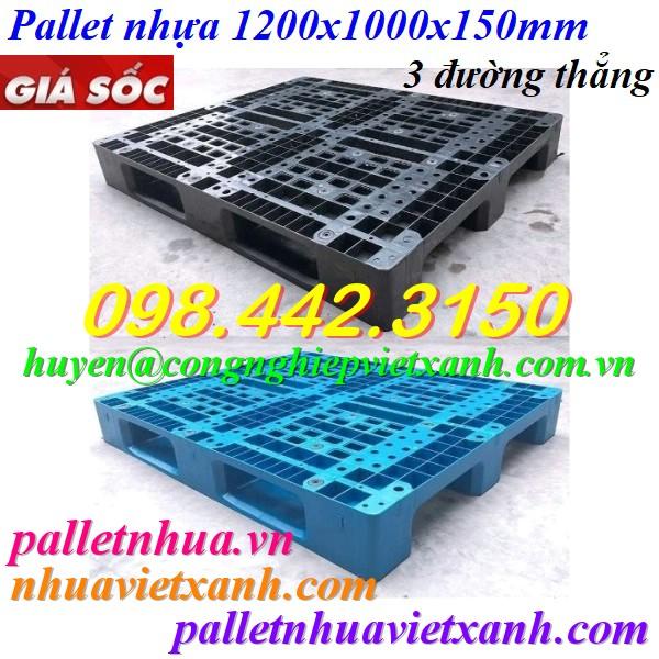Pallet nhựa 1200x1000x150mm - 3 đường thẳng