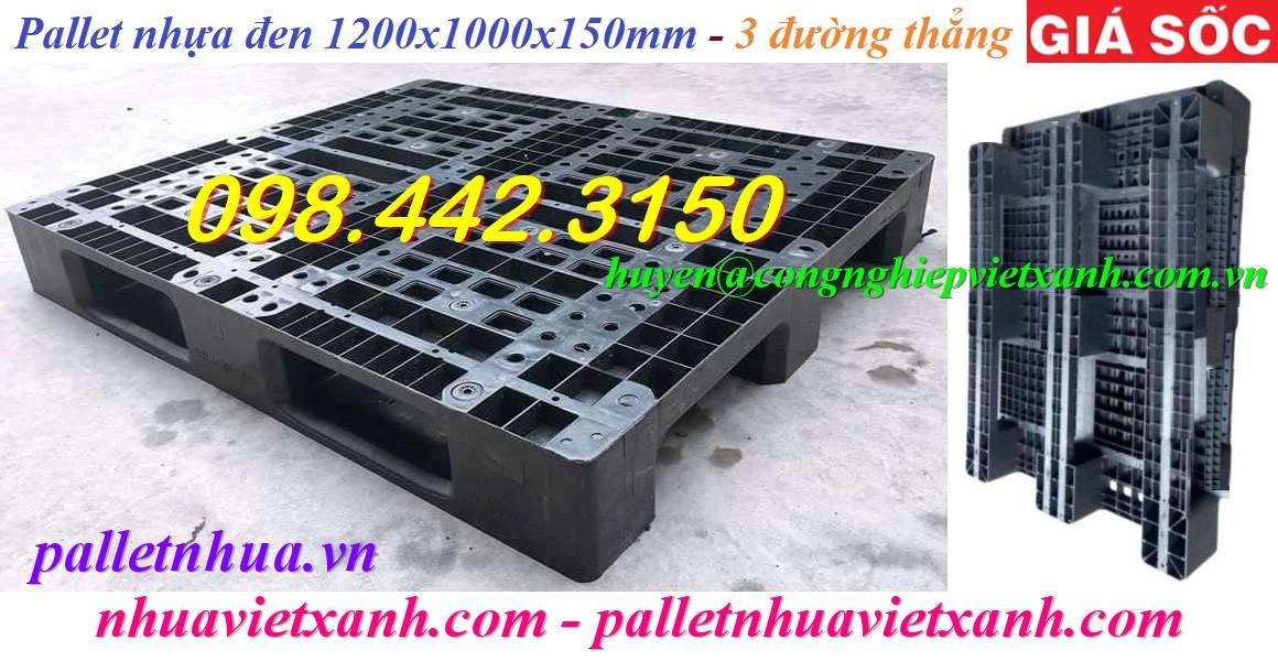 Pallet nhựa 1200x1000x150mm đen - 3 đường thẳng