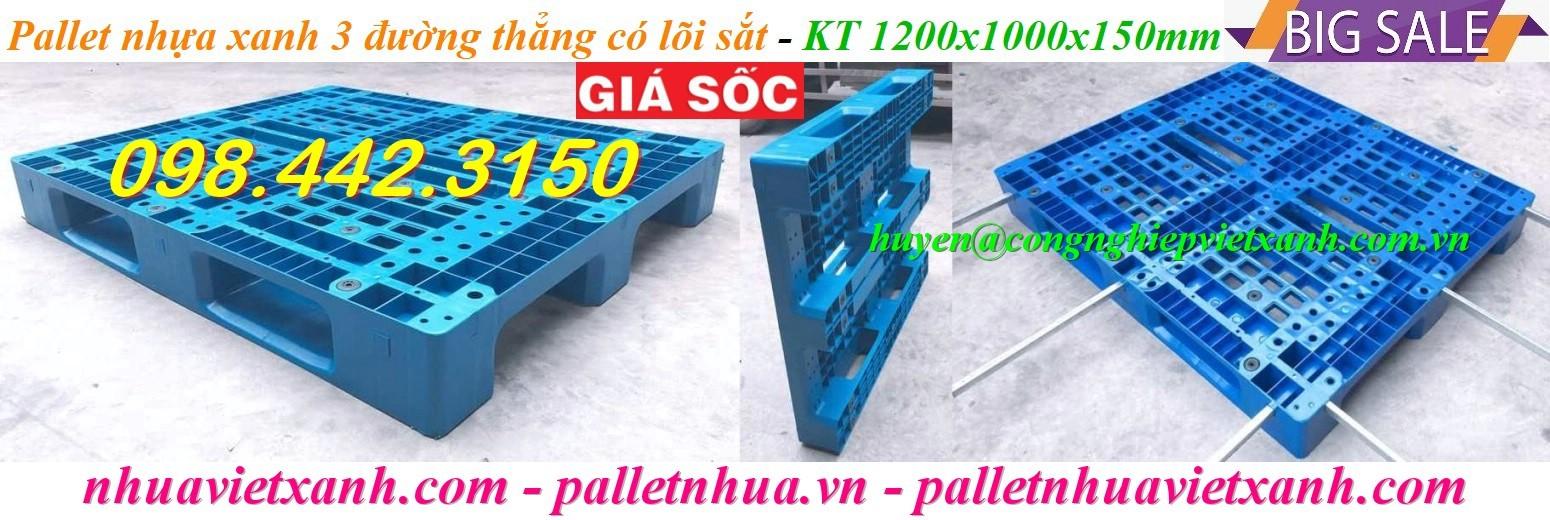 Pallet nhựa có lõi sắt 1200x1000x150mm xanh