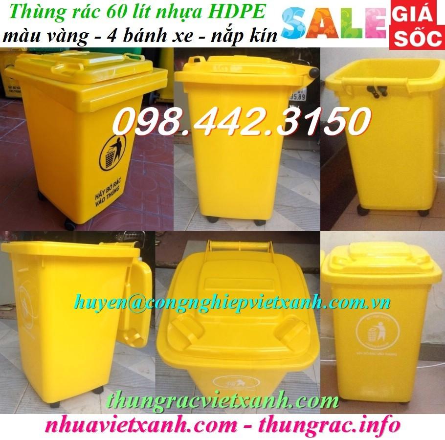 Thùng rác 60 lít 4 bánh xe nhựa HDPE màu vàng
