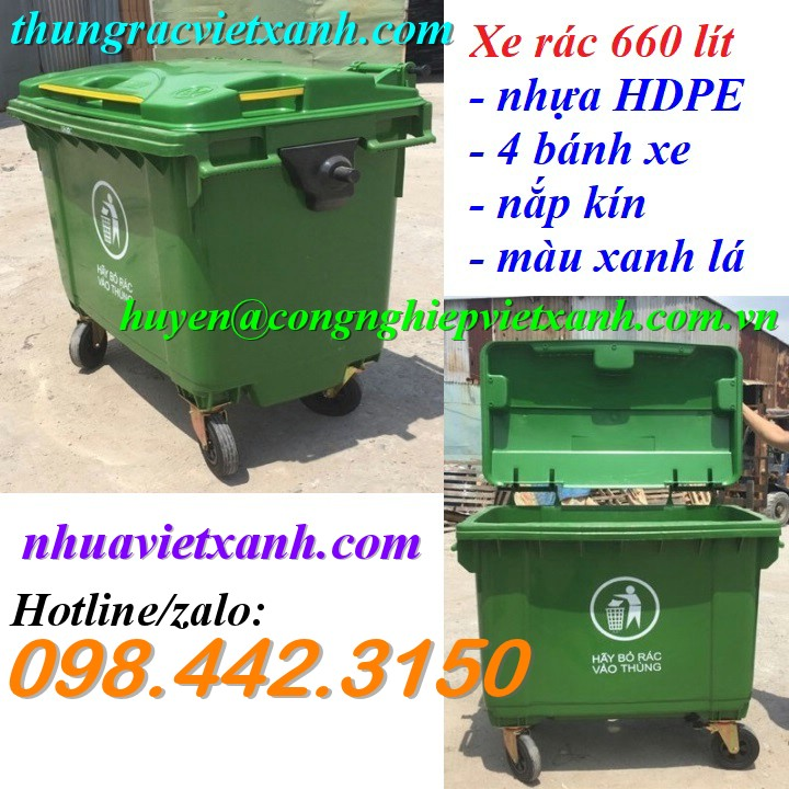 Thùng rác 660 lít 4 bánh xe nhựa HDPE VX660