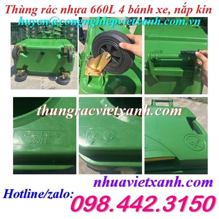 Thùng rác 660 lít nhựa HDPE 4 bánh xe VX660