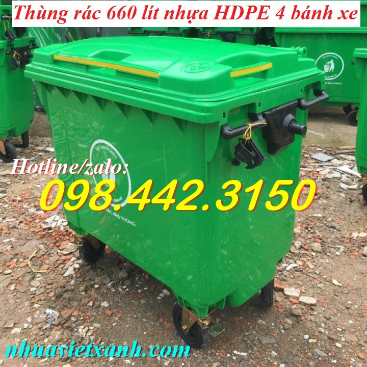 Thùng rác 660 lít nhựa HDPE VX660