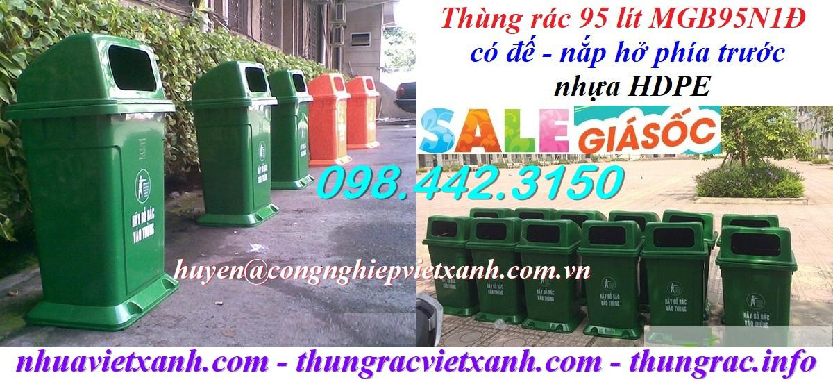 Thùng rác 95 lít nhựa HDPE MGB95N1Đ