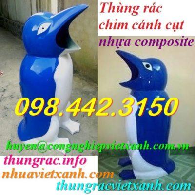 Thùng rác chim cánh cụt xanh