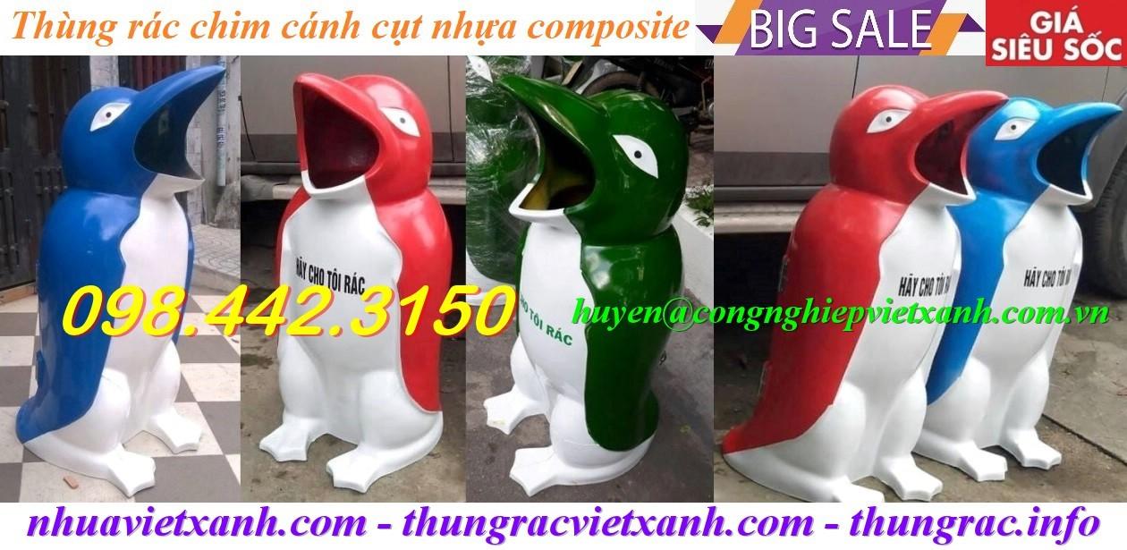 Thùng rác hình chim cánh cụt nhựa composite