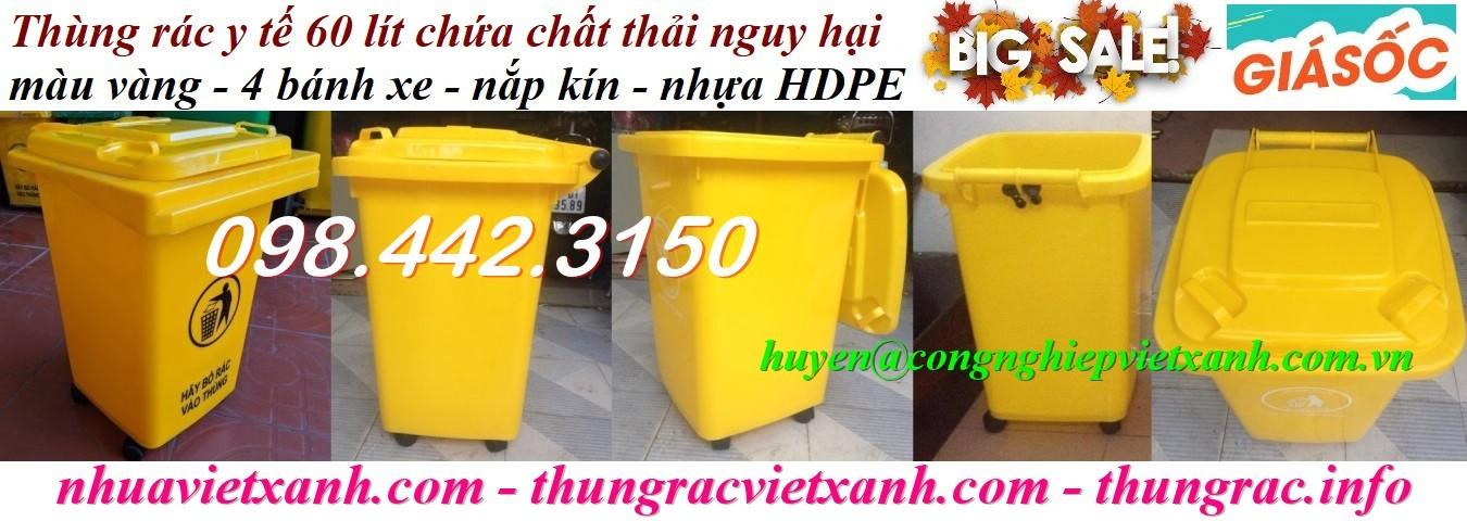 Thùng rác y tế 60 lít chất thải nguy hại