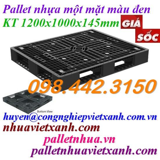 Pallet nhựa 1200x1000x145mm màu đen