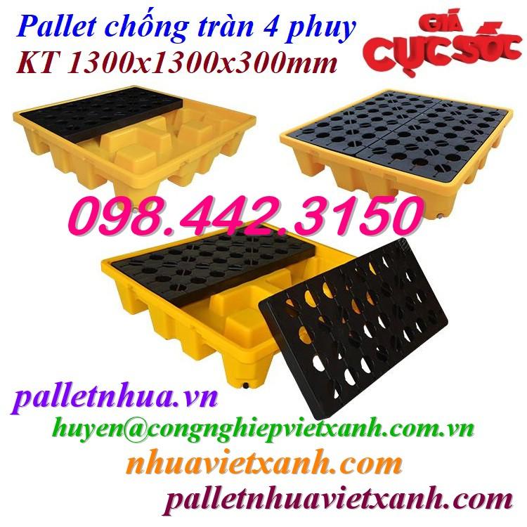 Pallet nhựa chống tràn dầu 4 phuy