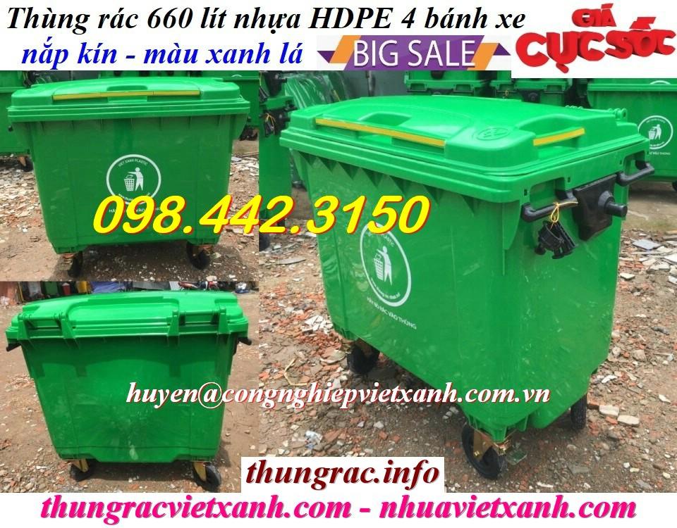 Thùng rác 660 lít nhựa HDPE xanh lá