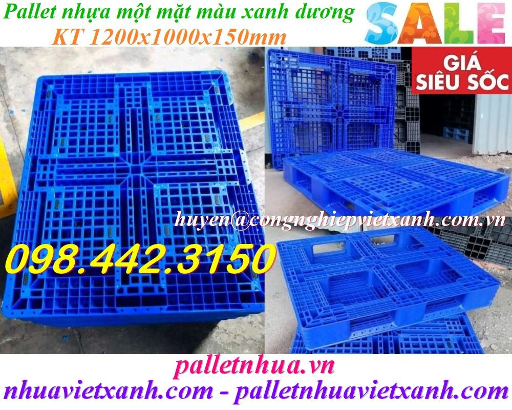Pallet nhựa 1200x1000x150mm xanh dương nhựa nguyên chất