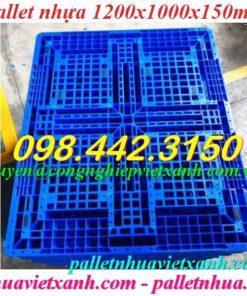 Pallet nhựa 1200x1000x150mm xanh dương