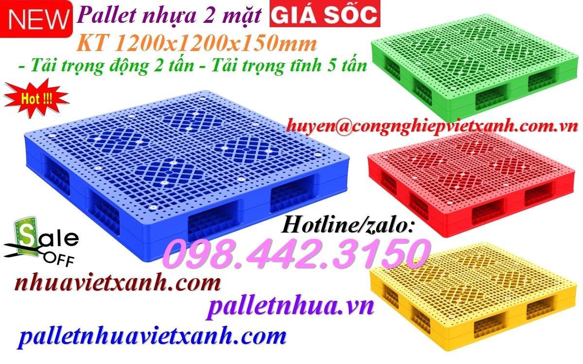 Pallet nhựa 1200x1200x150mm 2 mặt