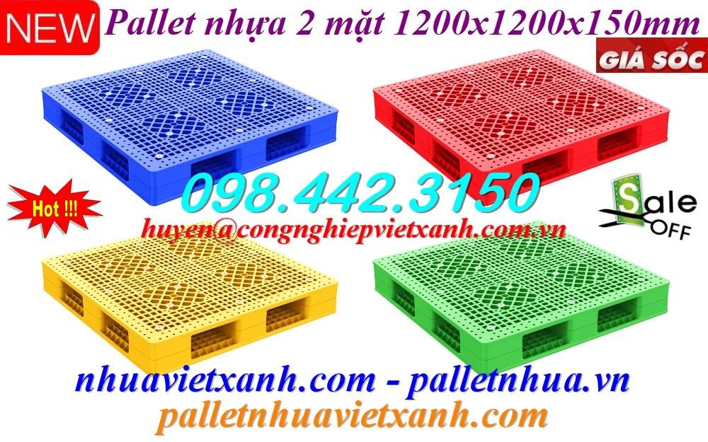 Pallet nhựa 2 mặt - KT 1200x1200x150mm