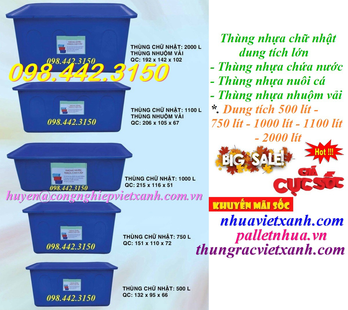 Thùng nhựa chữ nhật dung tích lớn 500L - 750L - 1000L - 1100L - 2000L