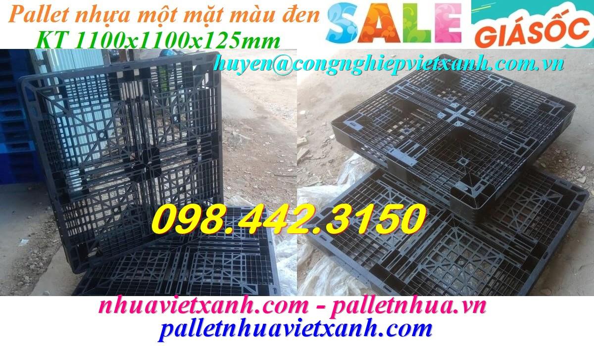 Pallet nhựa 1100x1100x125mm màu đen giá rẻ