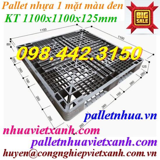 Pallet nhựa 1100x1100x125mm màu đen