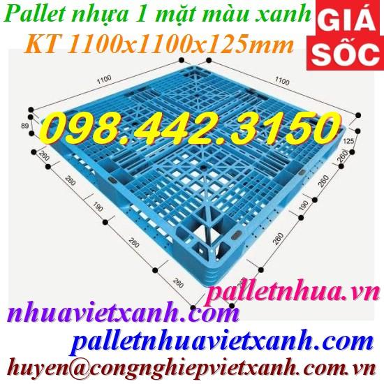 Pallet nhựa 1100x1100x125mm xanh nhạt