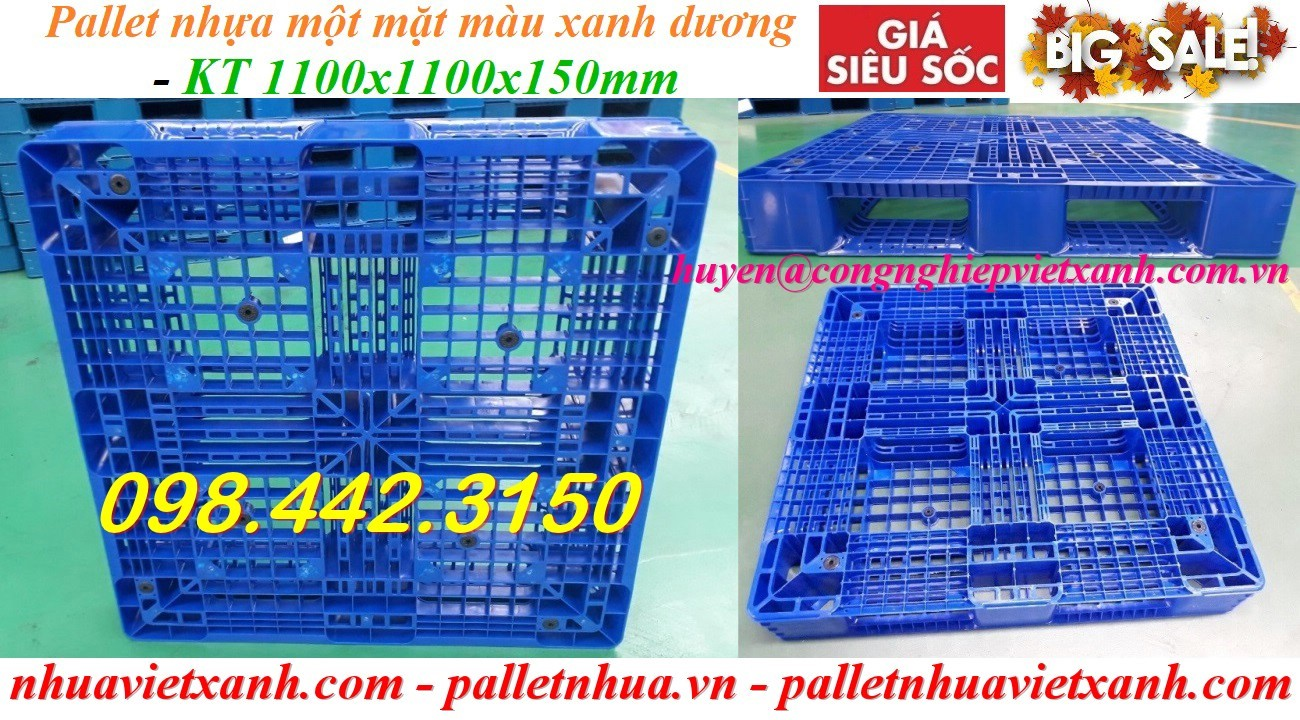 Pallet nhựa 1100x1100x150mm xanh dương PL111115