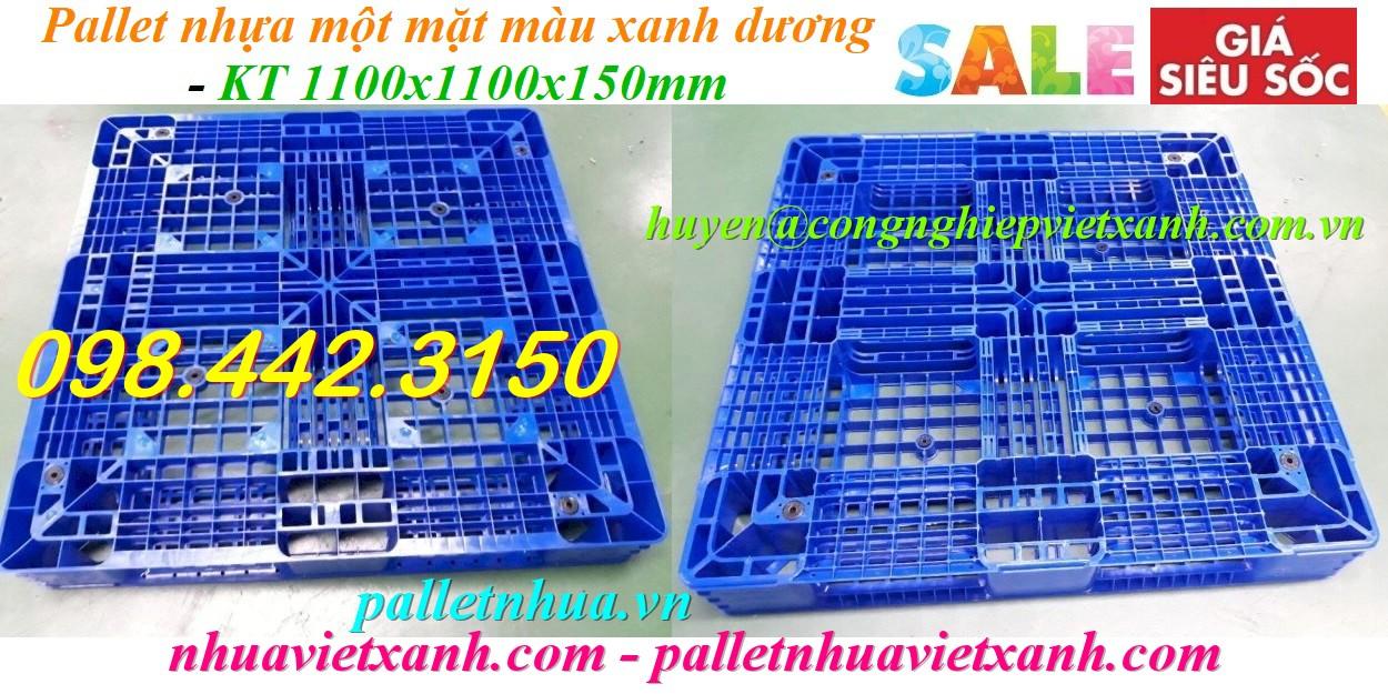 Pallet nhựa 1100x1100x150mm nhựa nguyên chất