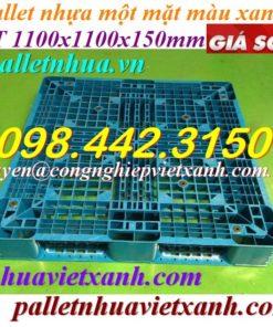 Pallet nhựa 1100x1100x150mm xanh nhạt