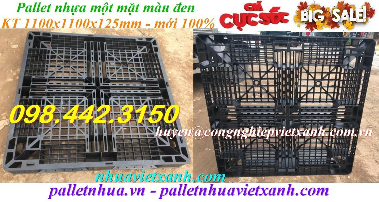 Pallet nhựa mới 1100x1100x125mm màu đen