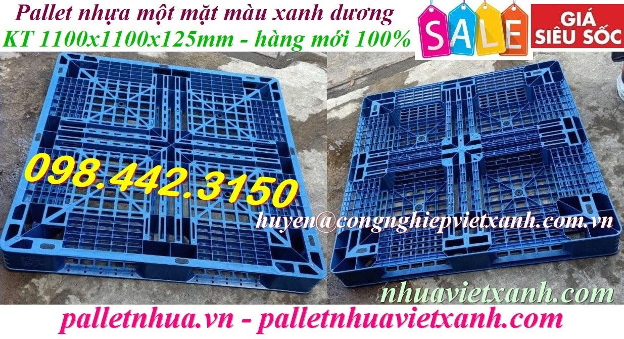 Pallet nhựa mới 1100x1100x125mm màu xanh