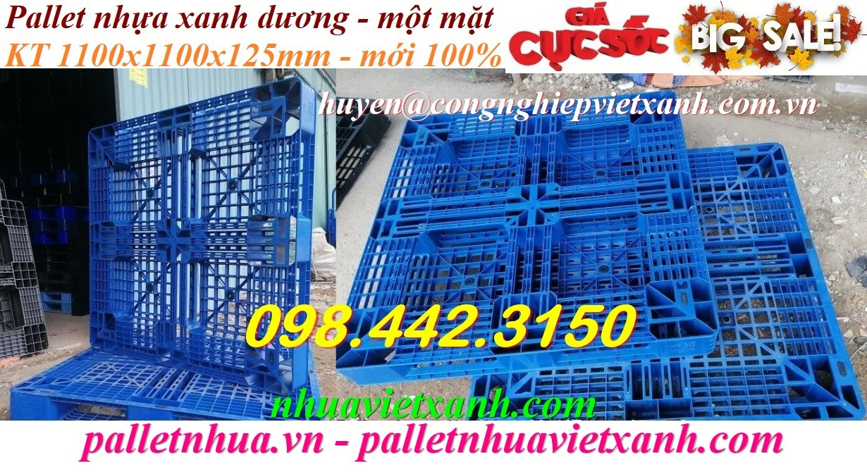 Pallet nhựa xanh 1100x1100x125mm
