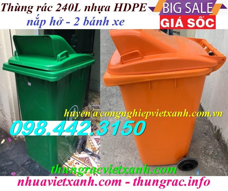 Thùng rác 240L nắp hở MGB240H