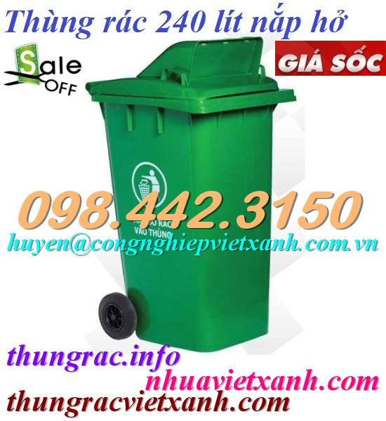 Thùng rác 240L nắp hở