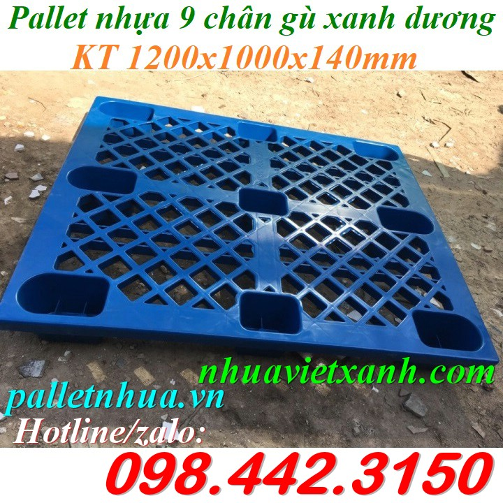 Pallet nhựa 9 chân 1200x1000x140mm