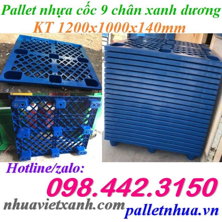 Pallet nhựa cốc 9 chân 1200x1000x140mm