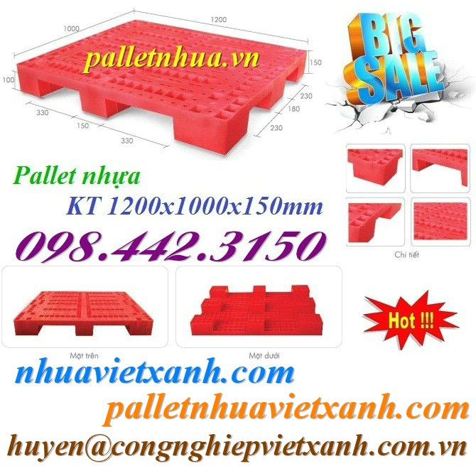 Pallet nhựa 1200x1000x150mm PL01LS 9 chân