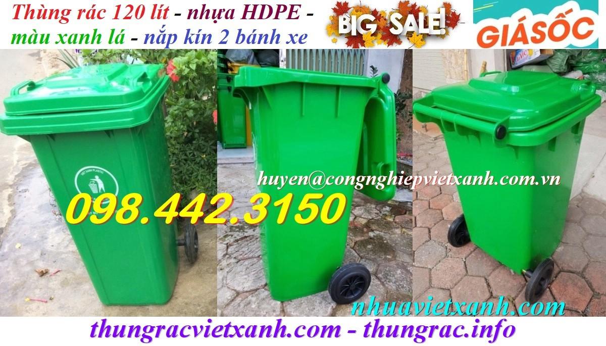 Thùng rác 120 lít xanh lá