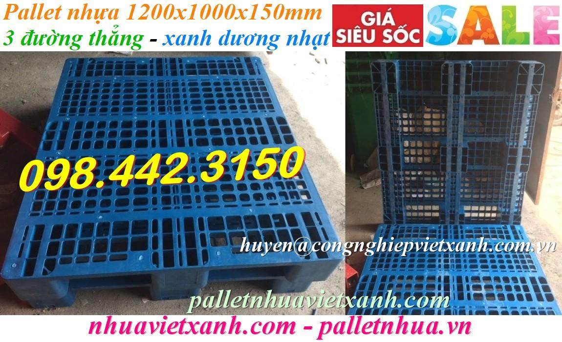 Pallet nhựa 1200x1000x150mm 3 đường thẳng màu xanh