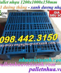 Pallet nhựa 1200x1000x150mm 3 đường thẳng xanh nhạt