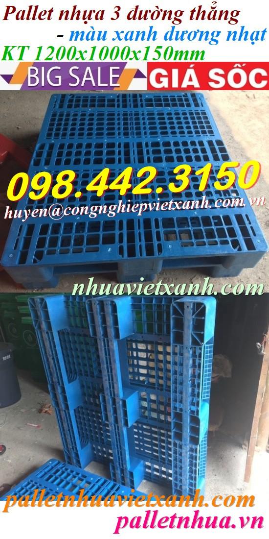 Pallet nhựa xanh 1200x1000x150mm 3 đường thẳng