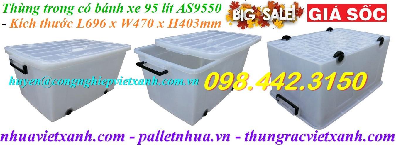 Thùng nhựa trong 95 lít AS9550